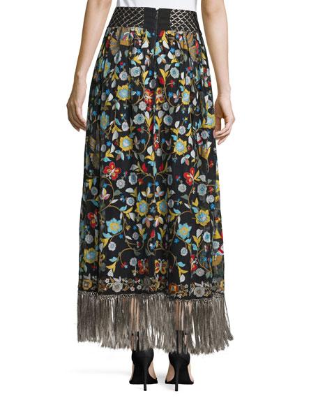 Kamryn Floral Fringe-Trim Maxi Skirt, Black/Multicolor