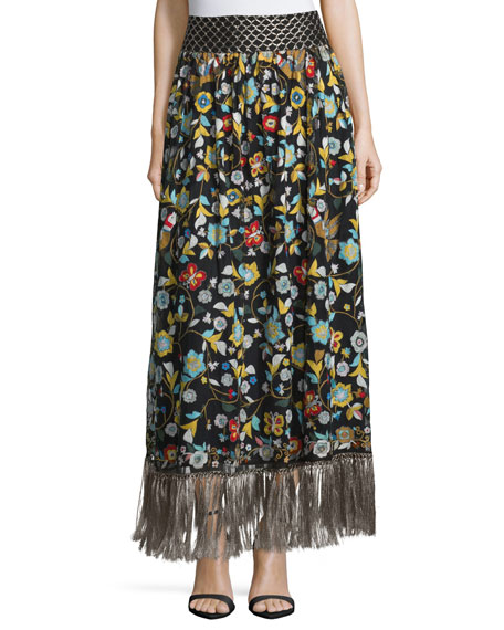 Alice + Olivia Kamryn Floral Fringe-Trim Maxi Skirt, Black/Multicolor