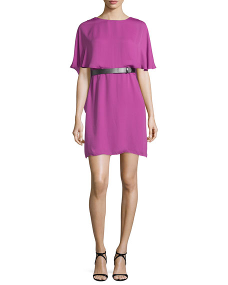 Halston Heritage Short-Sleeve Flowy Caftan Dress, Orchid
