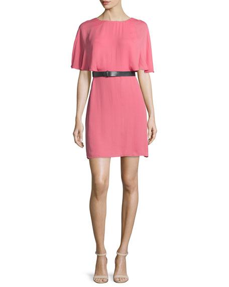 Short-Sleeve Belted Caftan Dress, Strawberry