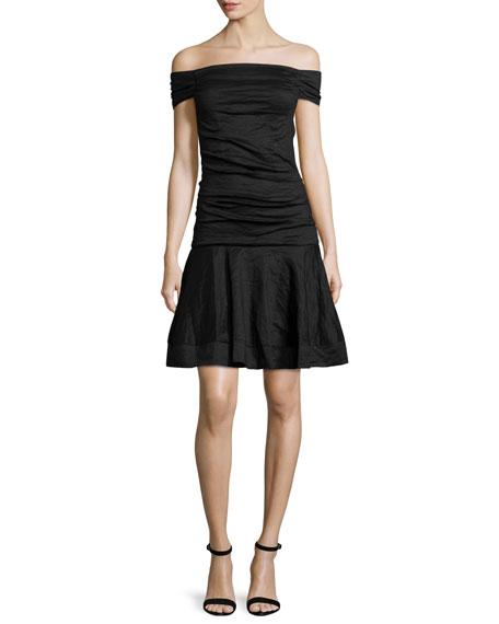 Off-The-Shoulder Fit-&-Flare Dress, Black