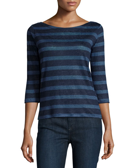 Majestic Paris for Neiman Marcus Linen Striped 3/4-Sleeve Top