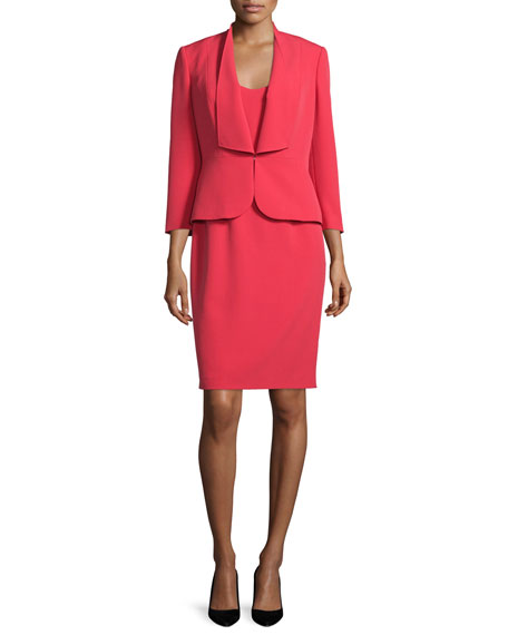 Albert Nipon Ruffle-Front Crepe Dress Suit