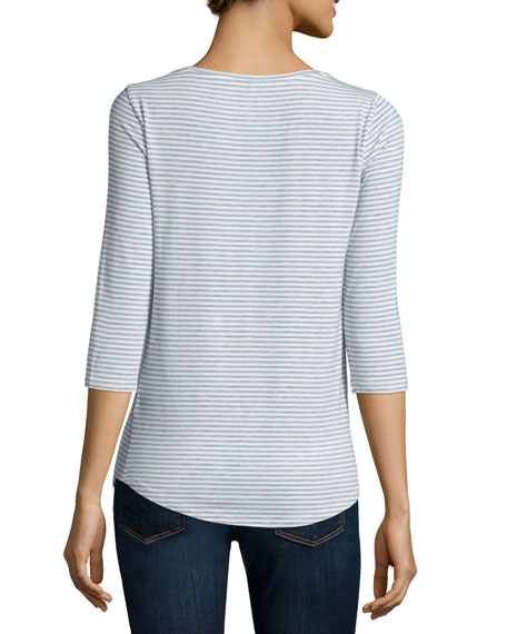 Soft Touch Striped 3/4-Sleeve Tee
