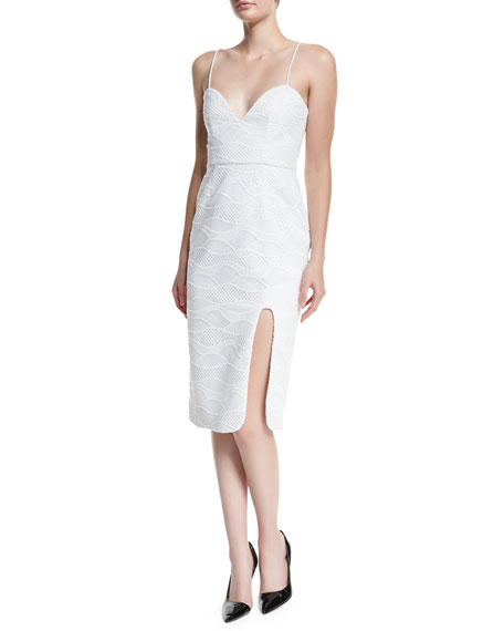 Sleeveless Wave-Lace Dress, White