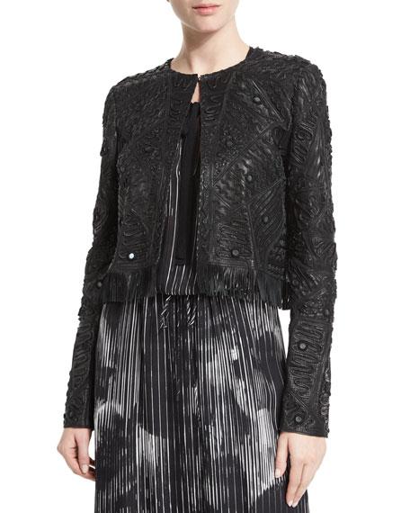 Elie TahariGavin Embroidered Leather Jacket, Black