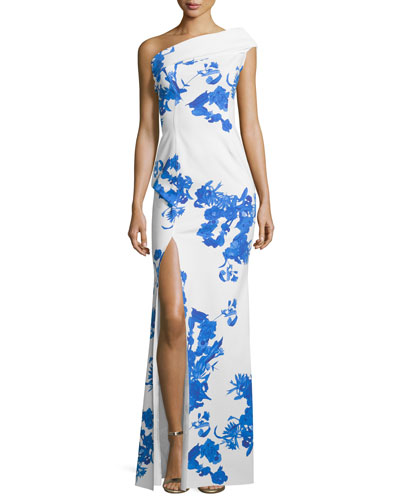 Malinda One-Shoulder Floral-Print Column Gown