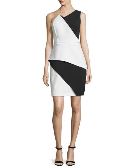 Halston Heritage One-Shoulder Colorblock Peplum Dress, Bone/Black