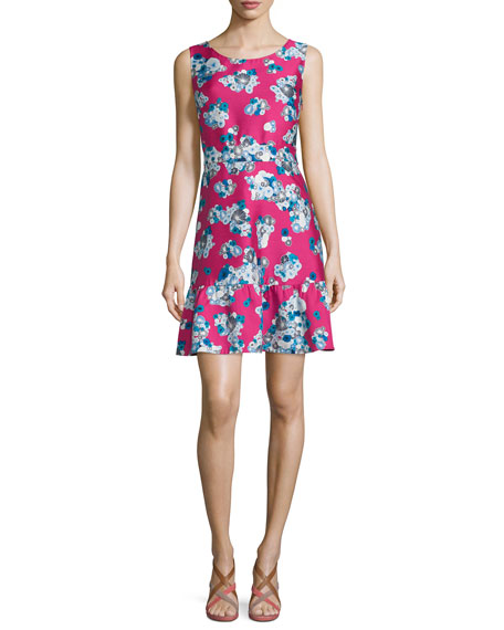 Diane von Furstenberg Topanga Floating Flowers A-Line Dress, Pink
