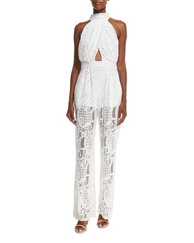 Halter-Neck Lace Jumpsuit W/Cutouts, White
