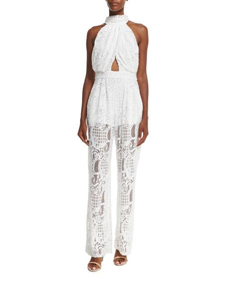 Kendall + Kylie Halter-Neck Lace Jumpsuit W/Cutouts, White
