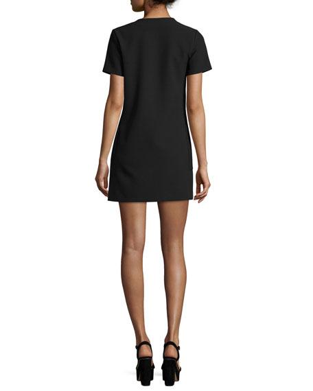 Short-Sleeve Lace-Up Safari Dress, Black