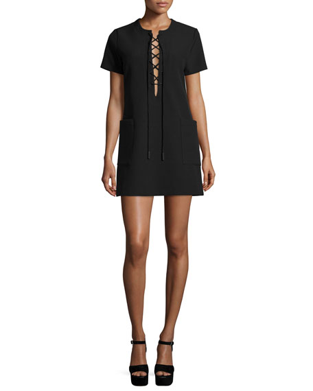 Short-Sleeve Lace-Up Safari Dress, Black