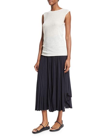 Pleated Chiffon High-Waist Midi Skirt, Navy