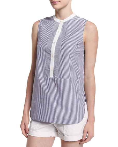 Striped Poplin Sleeveless Top