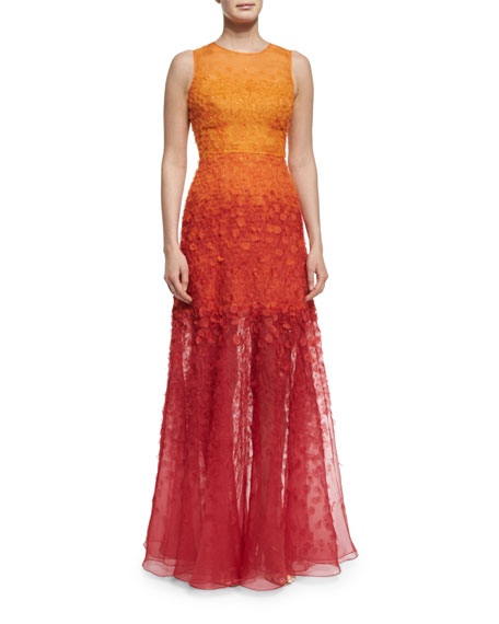 Jenny PackhamSleeveless Degrade Appliqué Gown, Henna