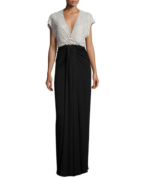 Jenny Packham Cap-Sleeve Embellished-Bodice Gown, Parchment/Black