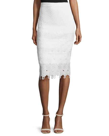 Rebecca Taylor Textured Lace-Trim Pencil Skirt, Snow