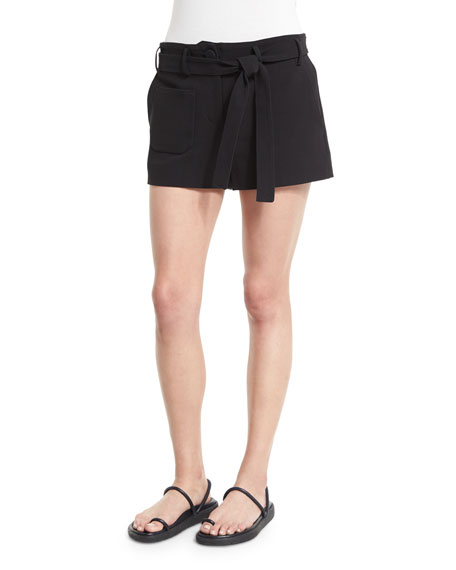 Helmut Lang Double-Weave Cotton Belted Shorts, Black