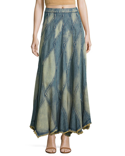 Pierre Patchwork Denim Maxi Skirt, Light Blue