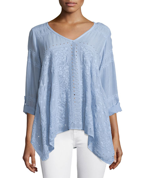 Johnny Was Collection Long-Sleeve Handkerchief Tunic, Periwinkle