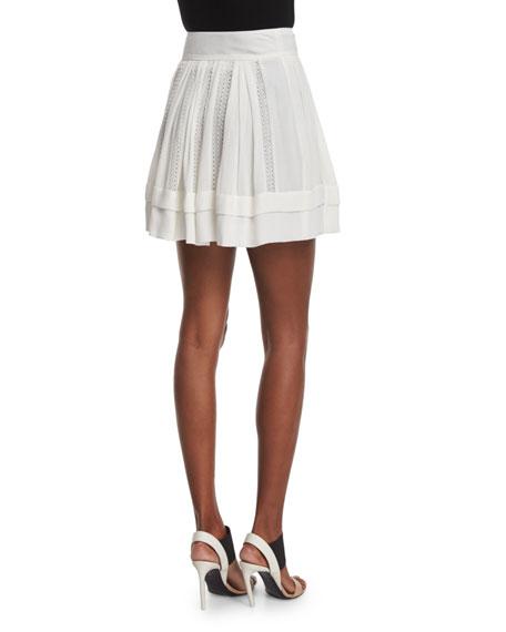 Ginny Metallic A-Line Skirt, Ecru