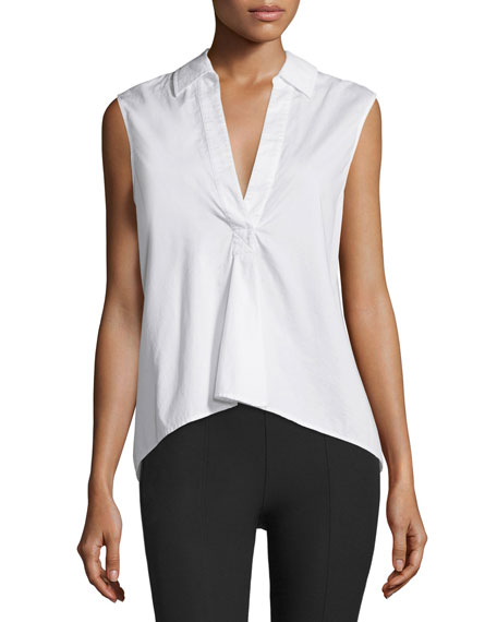 T by Alexander Wang Sleeveless Poplin Pullover Top, White