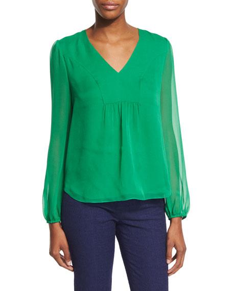 Diane von Furstenberg Maslyn Shirred Silk Top, Emerald Sea