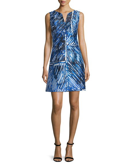 Milly Sleeveless Split-Neck Printed Dress, Blue