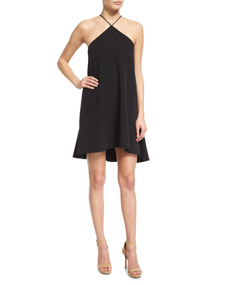 Milly Halter-Neck Cascade-Back Dress, Black