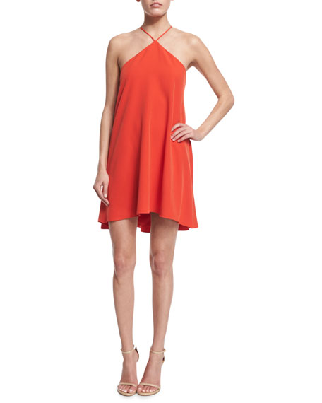 Milly Halter-Neck Cascade-Back Dress, Flame
