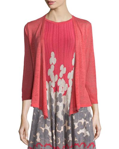 4-Way Linen-Blend Cardigan, Spiced Rose