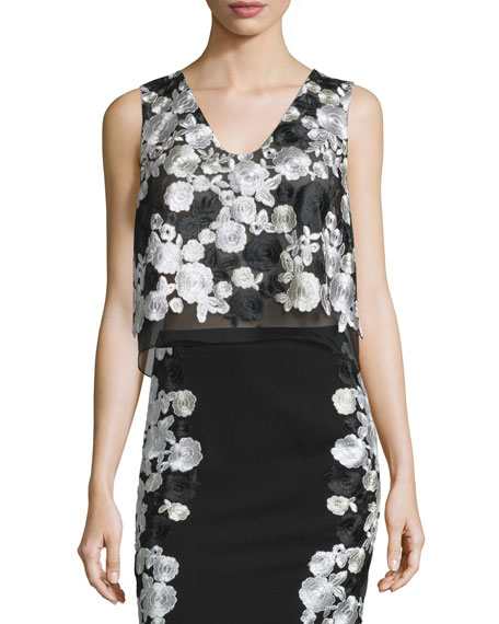 Diane von Furstenberg Jojo Embroidered Boxy Crepe Top, Black/White