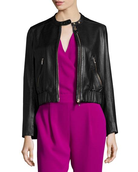 Diane von Furstenberg Buckley Zip-Front Lamb Leather Jacket, Black