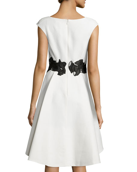Halston Heritage Cap Sleeve V Neck Fit Amp Flare Dress