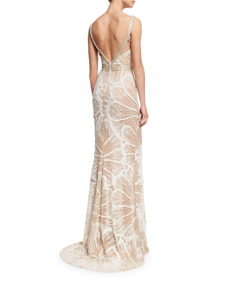 Sleeveless Embellished Draped Gown, Ivory/Silver