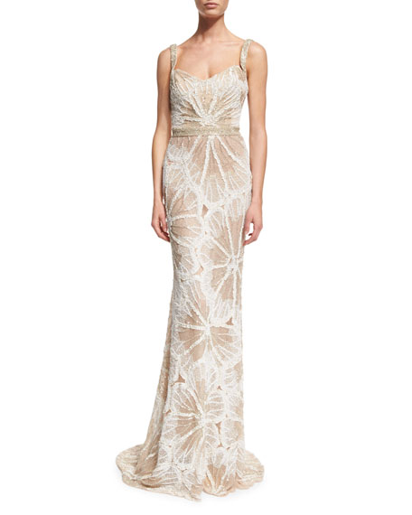 Badgley Mischka Sleeveless Embellished Draped Gown, Ivory/Silver