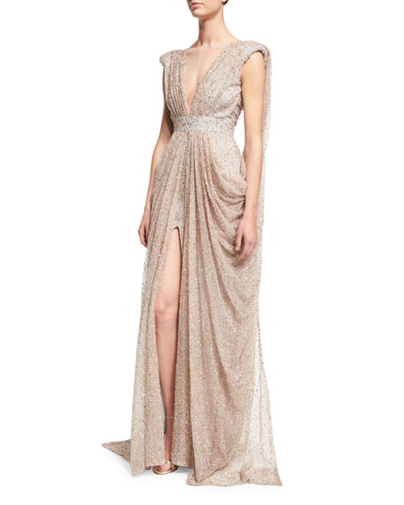 Sleeveless Embellished Drape Gown, Gray/Pink