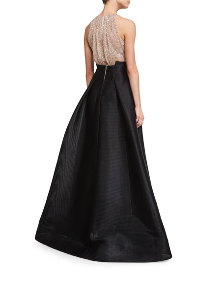 Sleeveless Embellished Ball Gown, Black/Nude