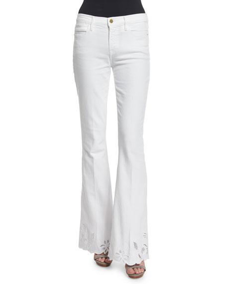 FRAME Le High Flare-Leg Eyelet-Hem Jeans, Blanc