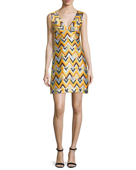 Milly Bridgette Sleeveless V-Neck Chevron Dress, Aqua/Multi