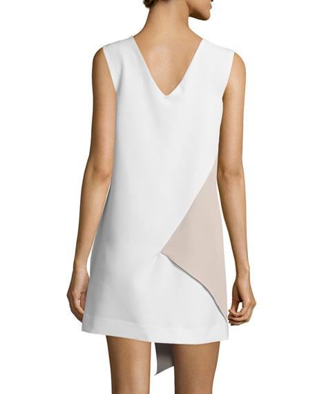Sleeveless Asymmetric Colorblock Dress, White/Stone