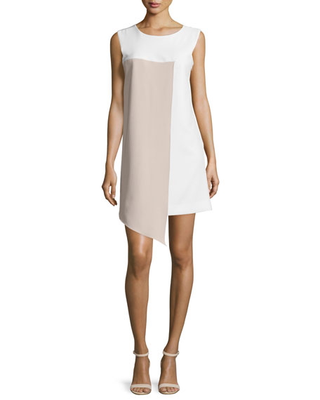 Milly Sleeveless Asymmetric Colorblock Dress, White/Stone