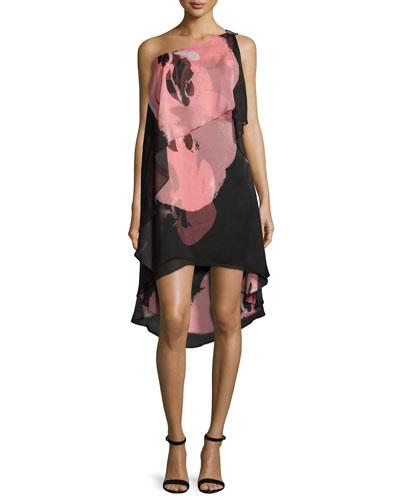One-Shoulder Tiered Cocktail Dress, Black/Parfait Orchid