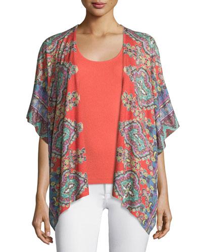 Bordered Paisley Knit Kimono