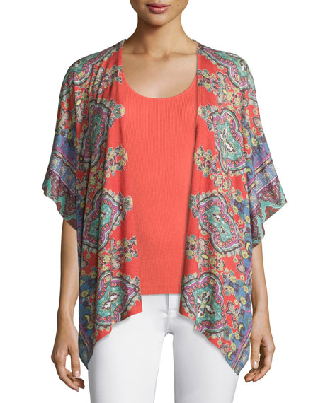 Neiman Marcus Cashmere Collection Bordered Paisley Knit Kimono