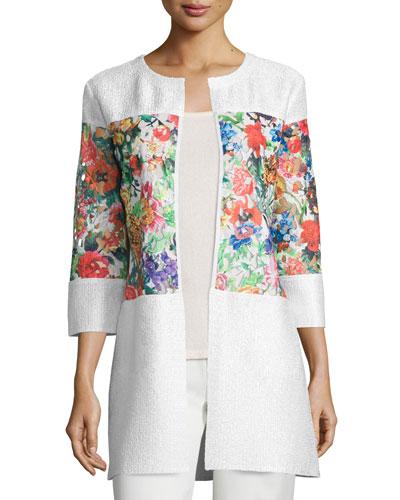 Floral-Inset Crinkle Jacket