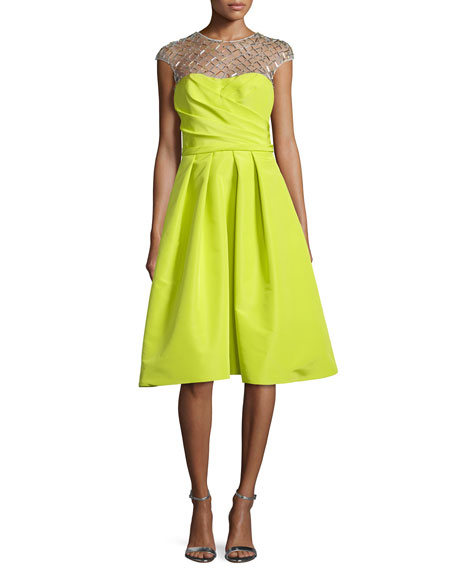 Pamella Roland Cap-Sleeve Embellished-Yoke Dress, Citron