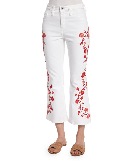 Ag jodi embroidered flare leg cropped jeans white
