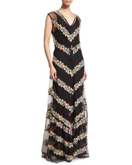 Calypso St Barth Sakile Floral-Chevron Maxi Dress, Black